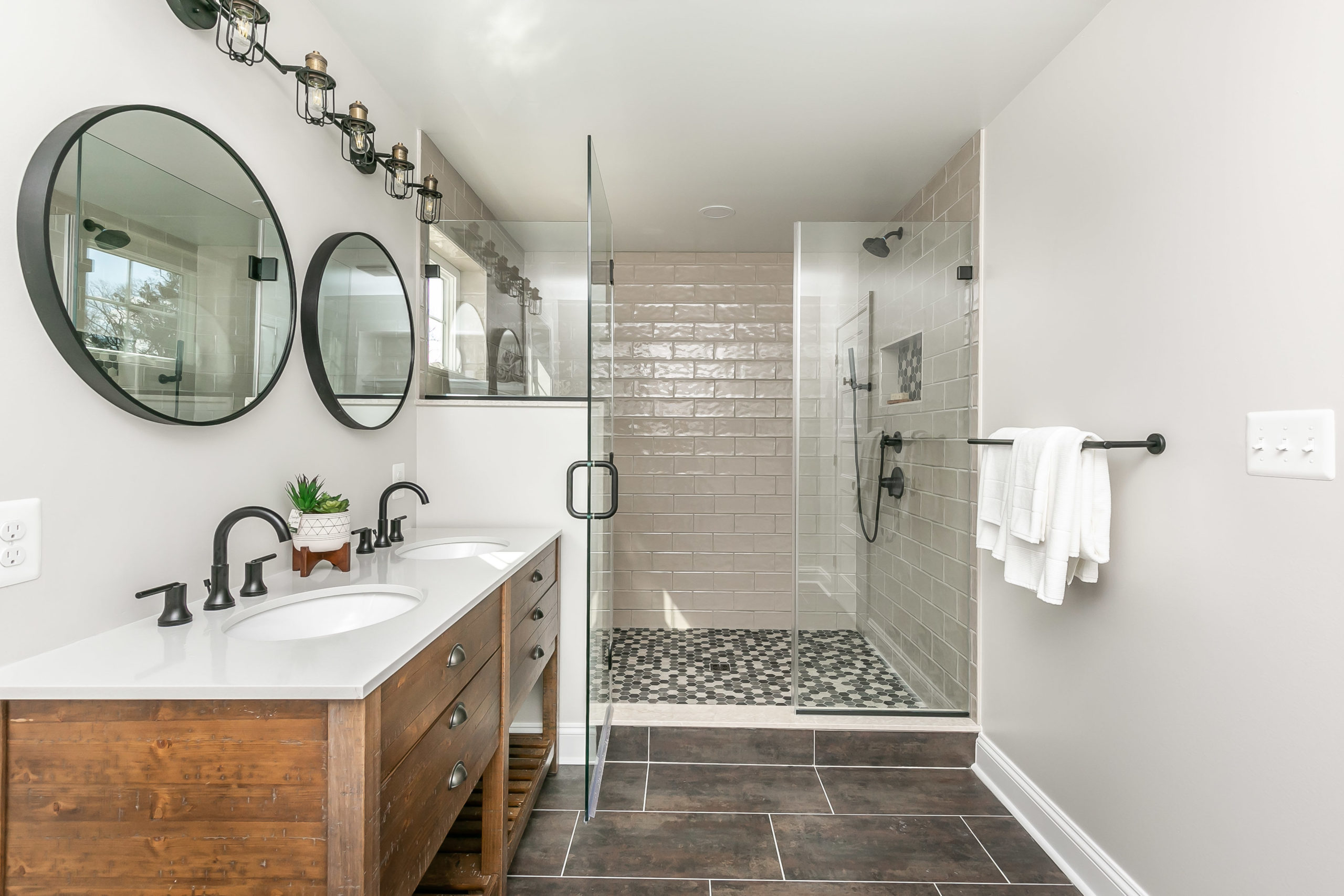 A bathroom in renovated home with concierge service